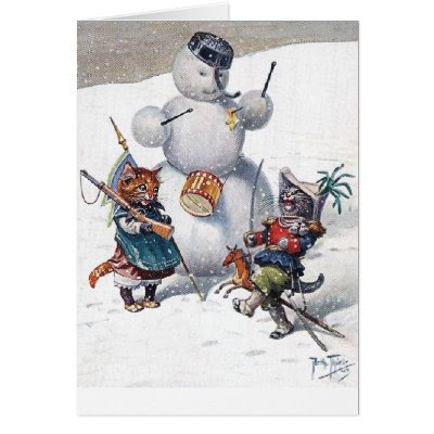 Kittens Playing in The Snow Greeting Card