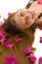 Beautiful woman with azaleas