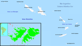 Mapa de las islas con la toponimia argentina