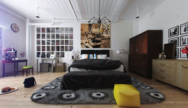 The bedroom itself is spacious and welcoming with a plush platform bed and unique seating area. A shaggy rug completes the cozy feeling, the perfect soft texture for cold feet on a winter morning.