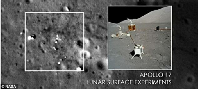Heavens above: Here the Apollo 17 lunar surface experiments can clearly be seen littering the Moon