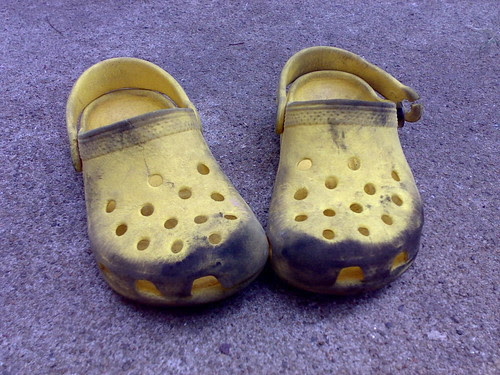 old worn-out crocs