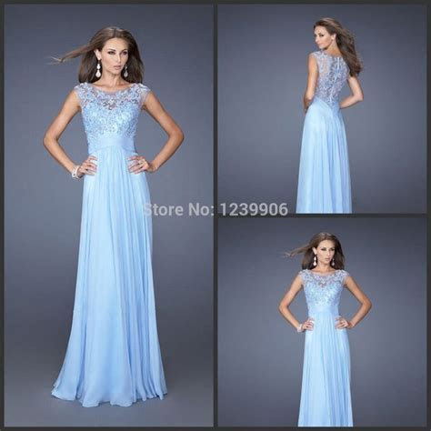A line Sleeveless Chiffon Long ice Blue Lace Bridesmaid