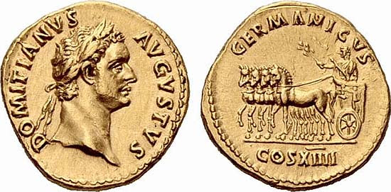 Golden coin of Domitianus issued for his 14th consulate, A.D. 88, RIC 561