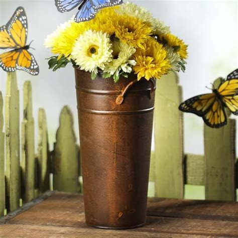 Rusty Tin French Flower Bucket   Baskets, Buckets, & Boxes