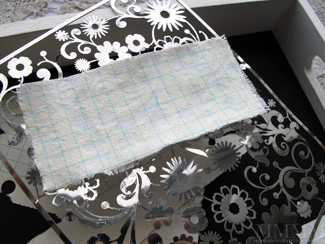 Vanilla Embossing on sticky back canvas with vintage graph paper transfer
