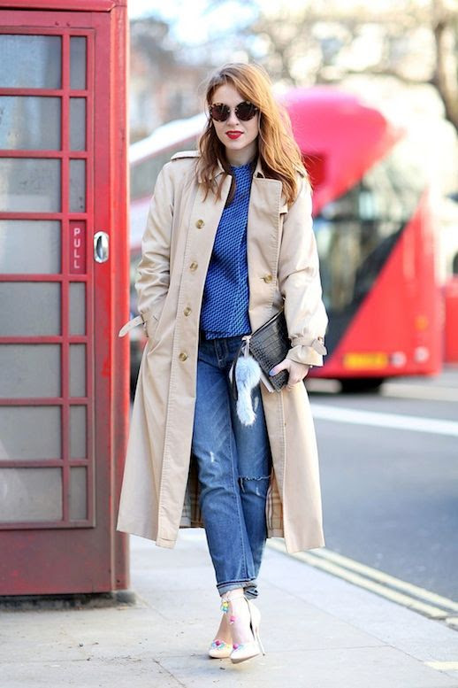Le Fashion Blog Street Style Tan Trench Coat Round Sunglasses Fur Keychain Croc Clutch Blue Geometric Jacket Jeans Embellished Nude Heels Via Refinery29