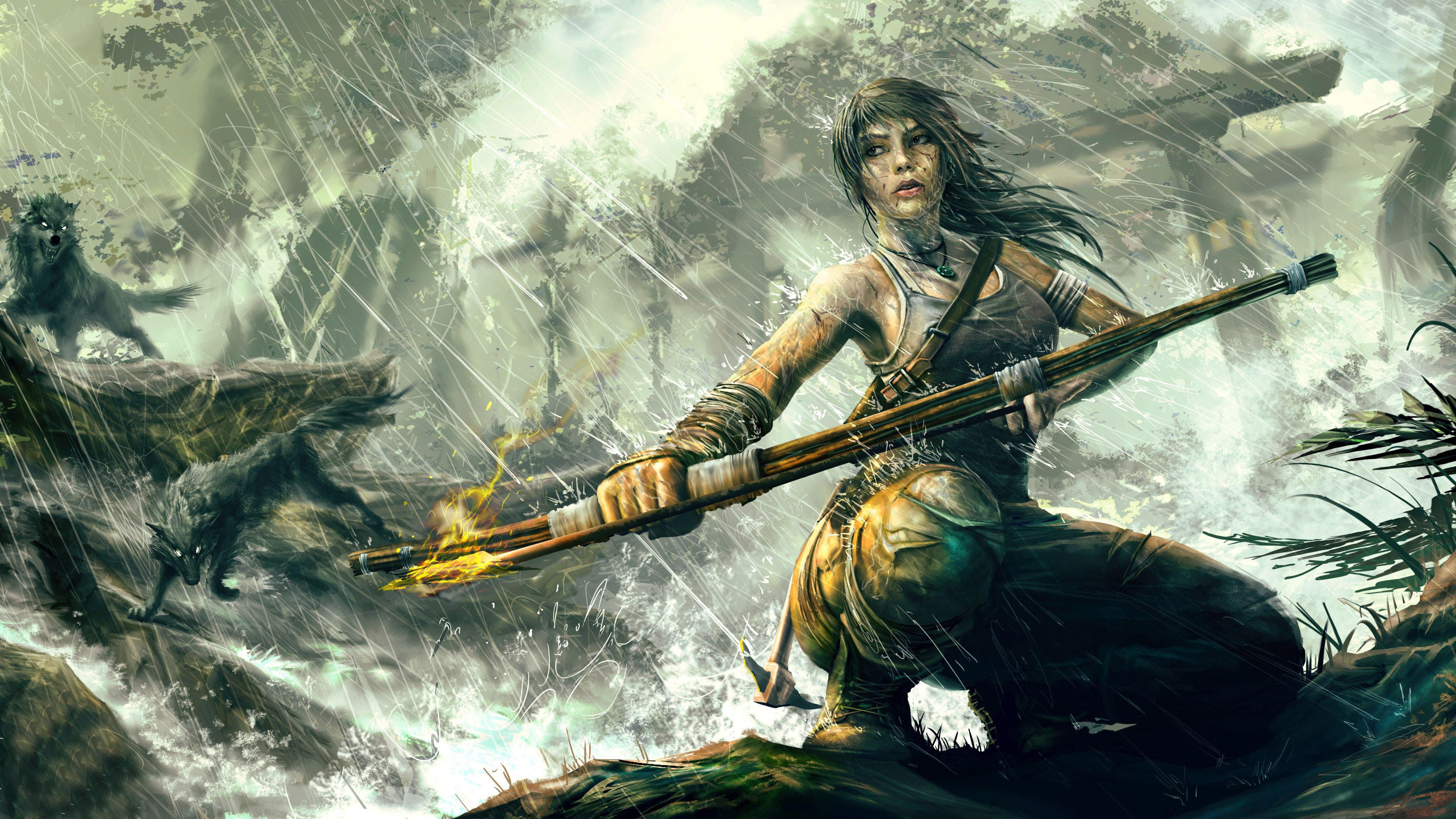 Hd Lara Croft With A Bow In Tomb Raider Wallpaper Download Free