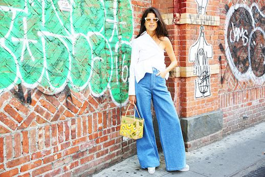 Le Fashion Blog Wicker Bag Wide Leg denim Button Down Top Chunky Shoe Via Man Repeller