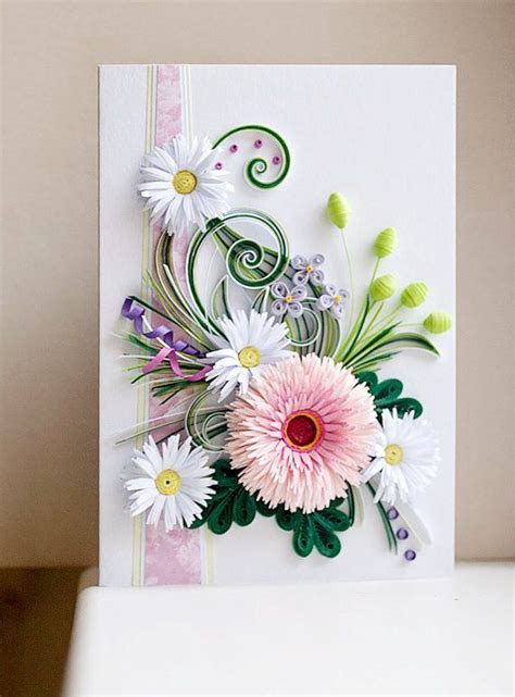 Handmade Quilling Card With Fresh Flowers by QuillingBG on