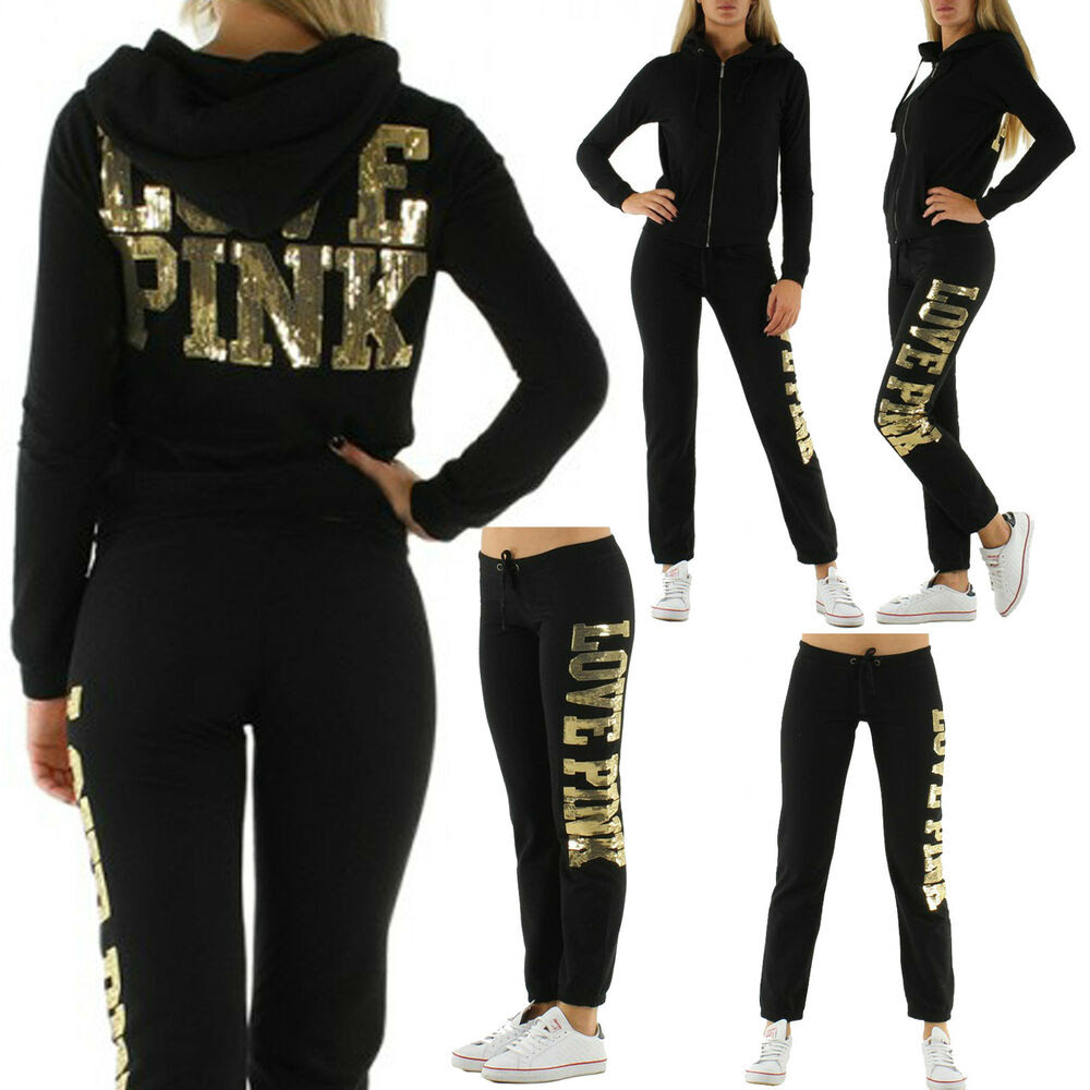 sexy love pink jogging suit women jacket pant tracksuit