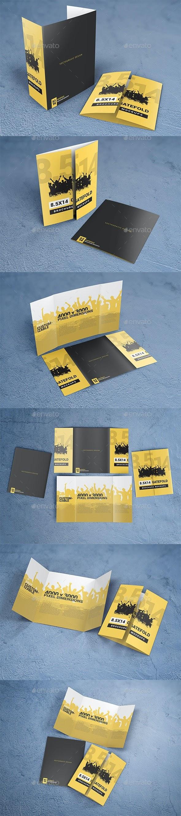Easy to custom Print Mockups - 8.5×14 Gate Fold Brochure Mockups