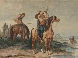 Rappresentazione artistica dei Merovingi, secondo Evariste Vital Luminais, immagine rilasciata in pubblico dominio, fonte Wikimedia Commons, utente Romain0