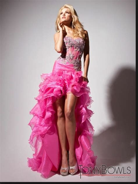 tony bowls le gala formal prom dress size  hot pink
