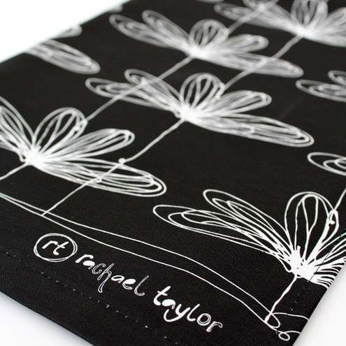 rachaeltaylordesigns - B&W Etched Floral Tea Towel
