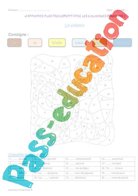Présent Cm1 Coloriage Magique Pass Education