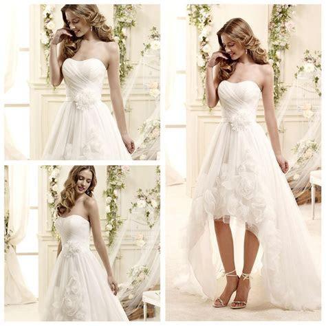 China Spring Organza Short Front Long Back Wedding Dress