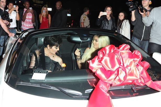 Kylie checks out her brand new Ferrari