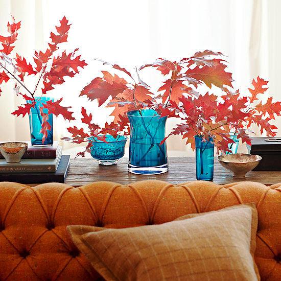 Red Leaves in Blue Vases