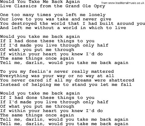 I Take You Back You Take Me Back Lyrics