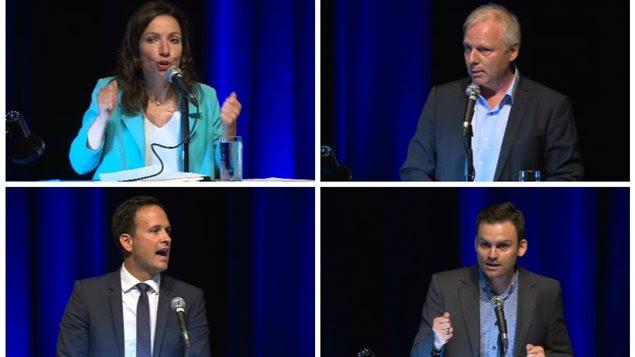 Les candidats dans la course à la direction du Parti québécois : Martine Ouellet, Jean-François Lisée, Alexandre Cloutier et Paul St-Pierre Plamondon