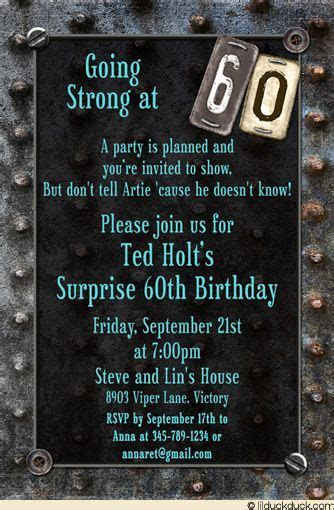 Motorcycle theme 60th birthday invite ideas   Vintage