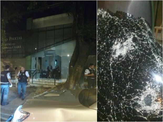 Vidro da porta da delegacia foi destruído (Foto: Arquivo pessoal)