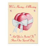 Romantic red hearts white bow blessing wedding 5x7 paper invitation card