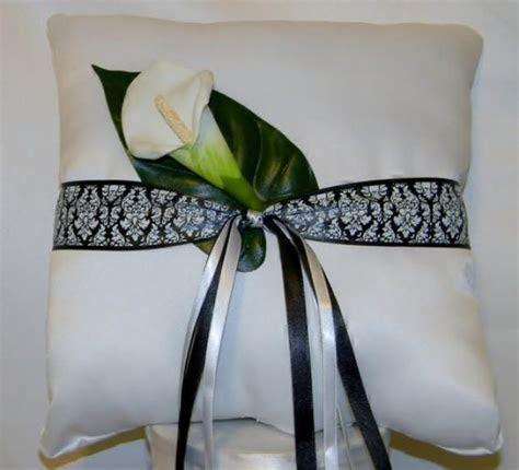 Wedding Ring Bearer Pillow White Black And White Damask