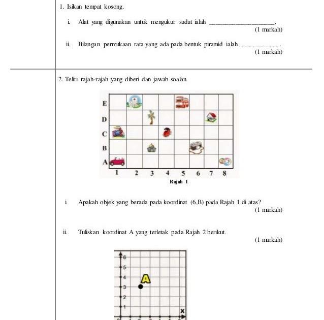 Contoh Soalan Upsr Matematik Kertas 2 Dan Jawapan Soalan Aw