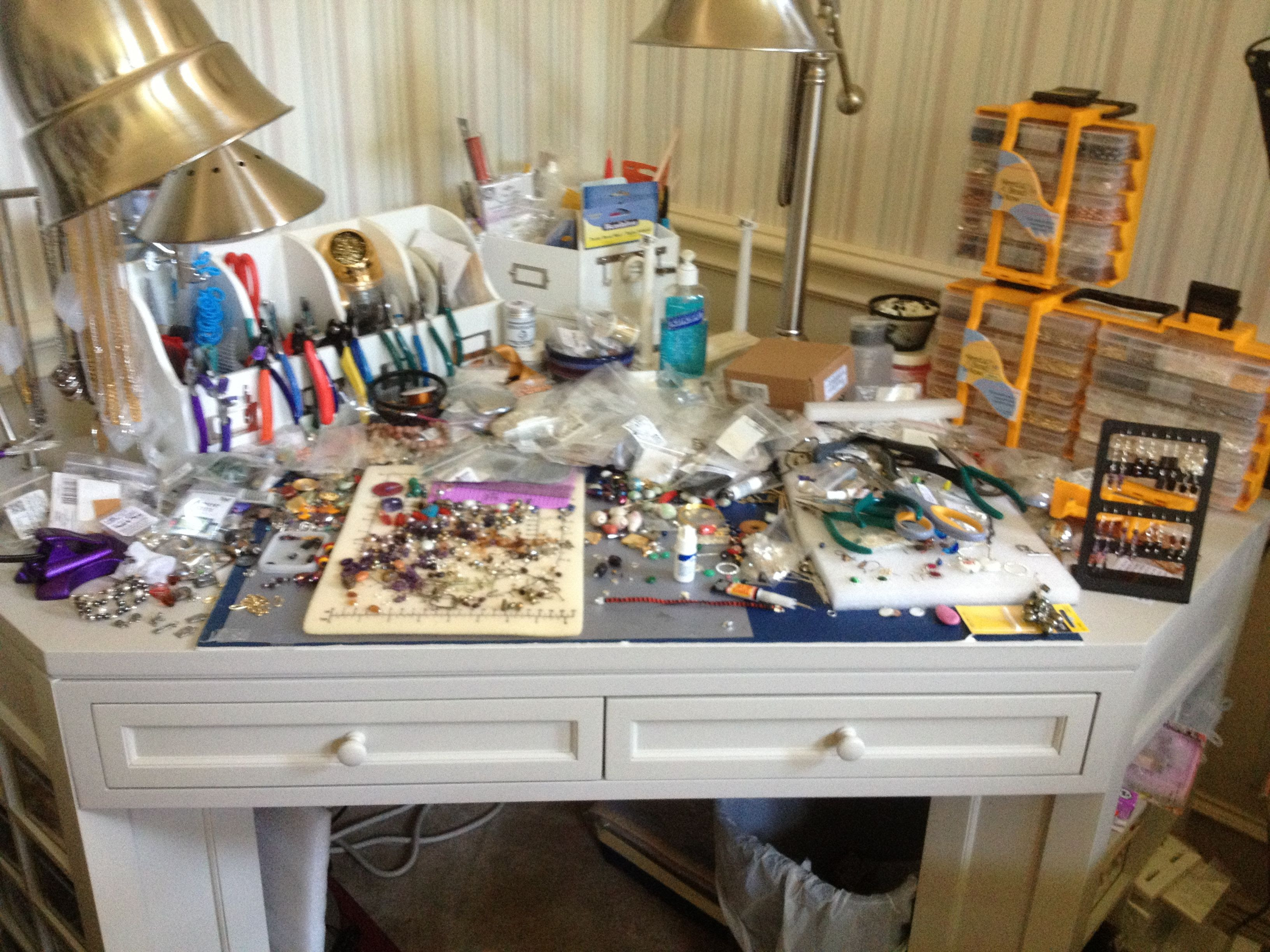 My jewelry making work table. | Jewlery | Pinterest