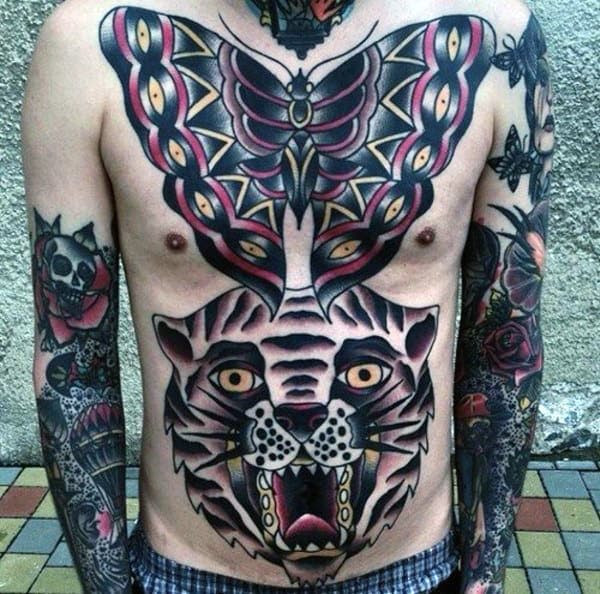 60 Traditional Chest Tattoo Designs For Men Old School Ideas