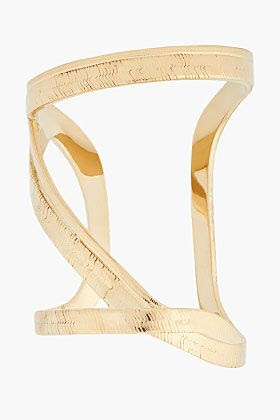 Saint Laurent Gold Snake Textured Cuff