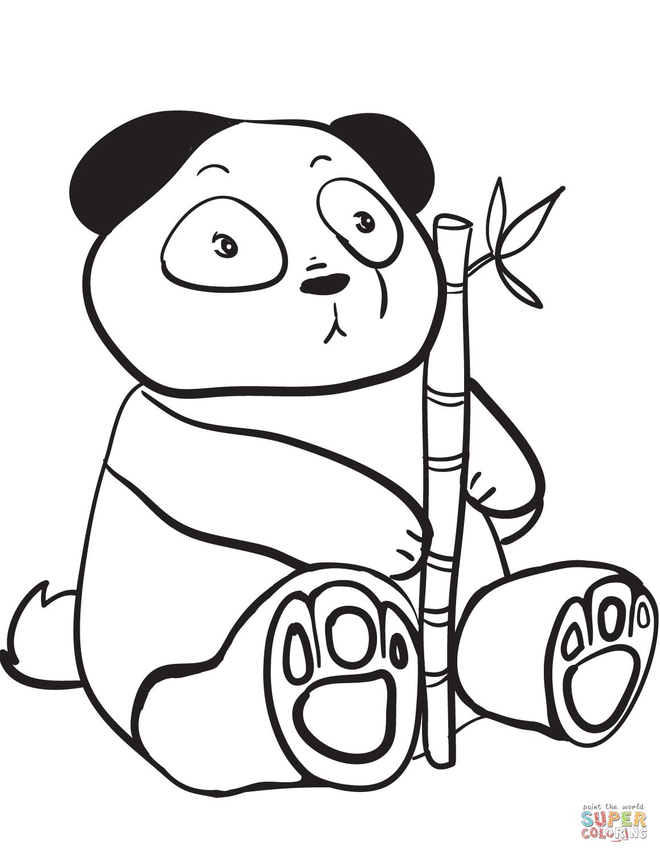 Disegno Di Panda Carino Con Ramo Di Bambù Da Colorare Disegni Da