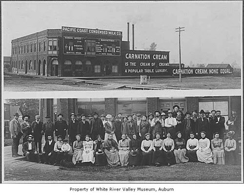 Pacific Coast Condensed Milk Company building and staff, Kent, ca. 1899