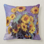 Bouquet of Sunflowers by Claude Monet throwpillow