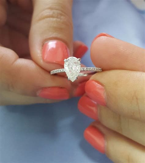 1 Carat E SI2 Pear Shape Natural Diamond Engagement Ring