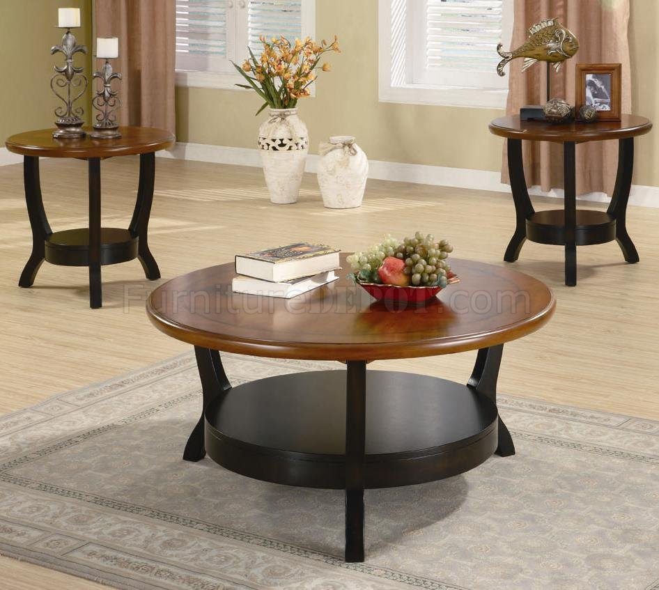 Brown & Cappuccino Two-Tone Finish Modern 3Pc Coffee Table Set