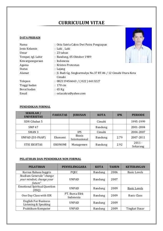Contoh Cv Lamaran Kerja Part Time Mahasiswa Wap Contoh