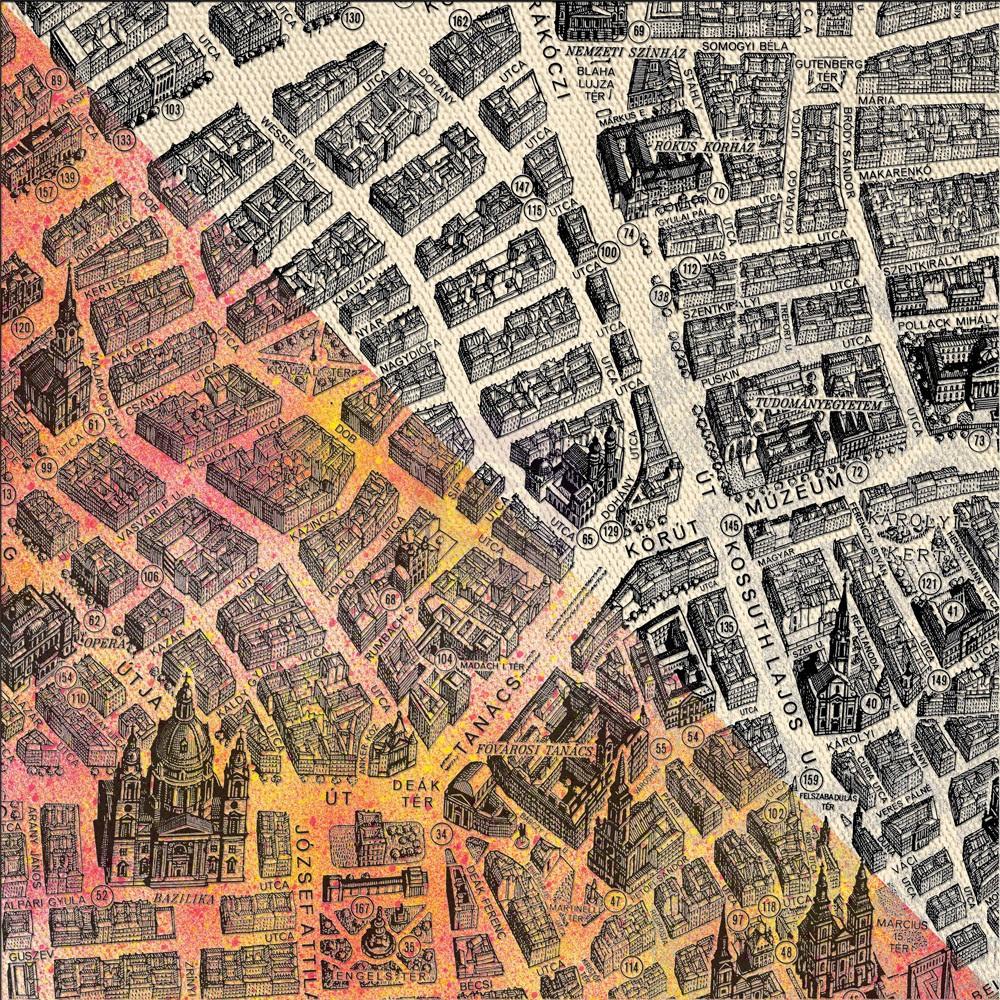 12x12 Prima Black Resist Canvas - Map