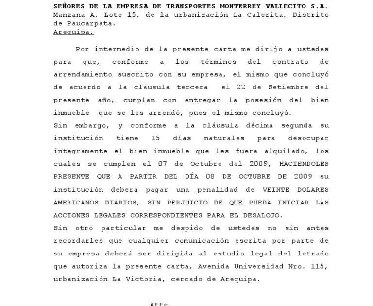 Modelo De Carta Notarial Por Devolucion De Dinero Peru Top