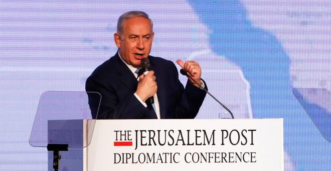 El primer ministro de Israel, Benjamin Netanyahu, en una conferencia organizada por 'The Jerusalem Post'. REUTERS/Ronen Zvulun