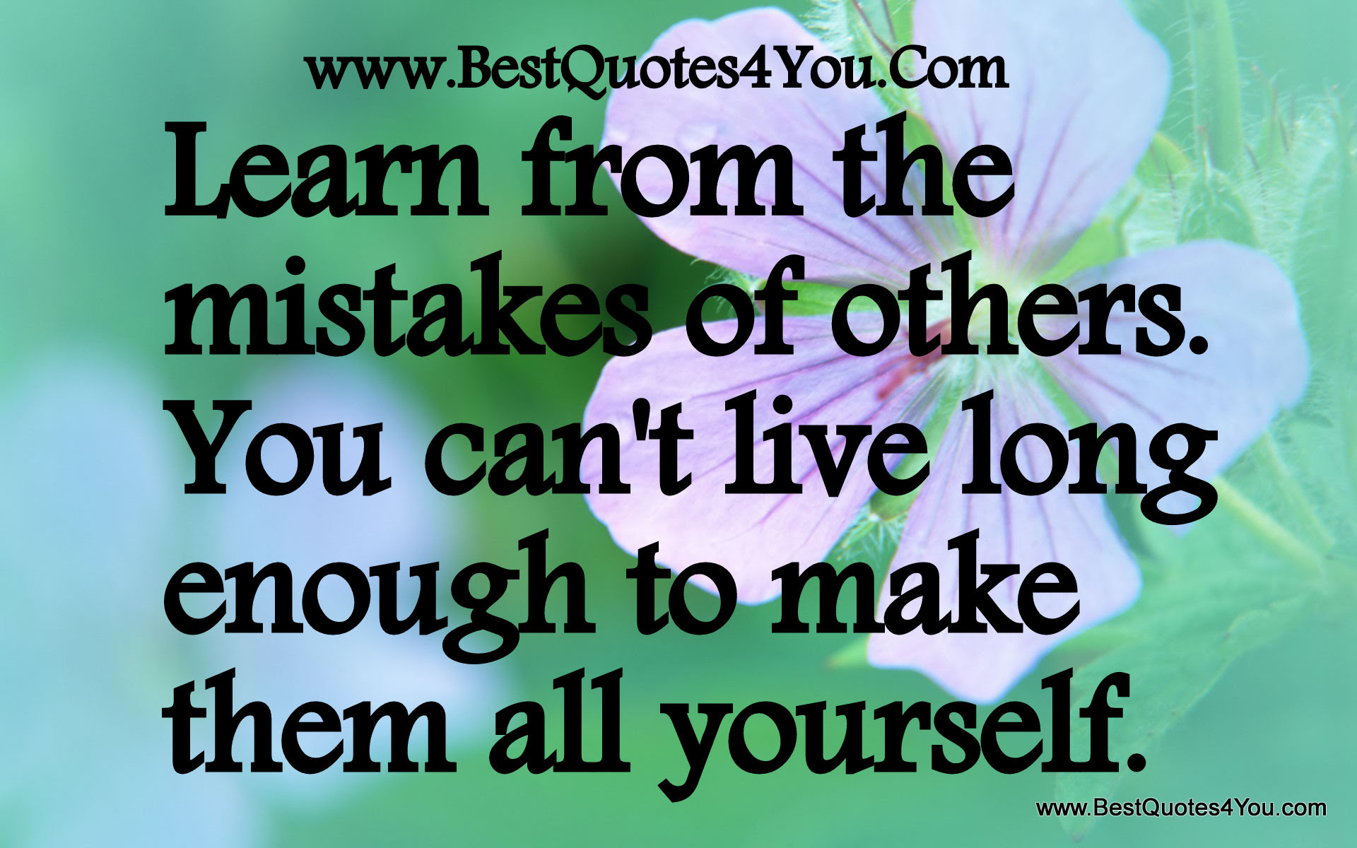 Learn From The Mistakes Of Others You Cant Live Long Enough To
