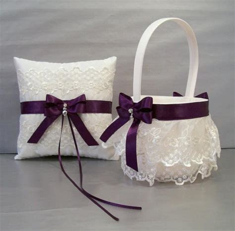 Plum Purple, Wedding Bridal, Flower Girl Basket And Ring