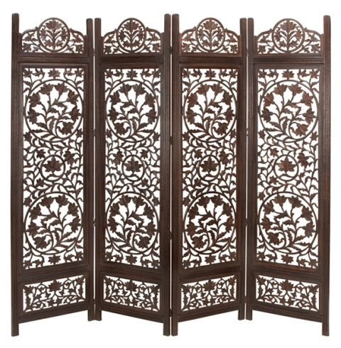 Benzara 14276 Malibu Wood Room Divider 4 Panel Hand Carved Screen ...