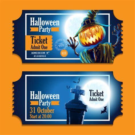 Halloween party ticket vector 02 free download