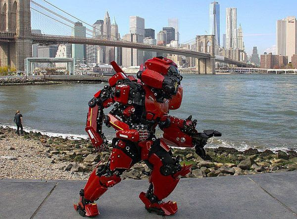 A home-made costume depicting the Crimson Typhoon from PACIFIC RIM.