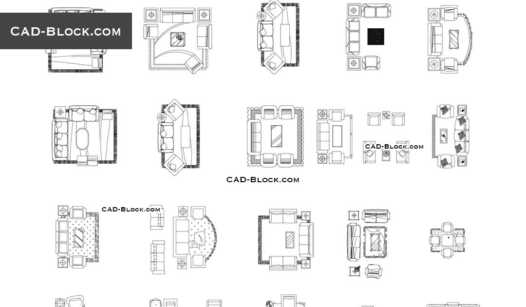 mix · modern living room furniture cad blocks