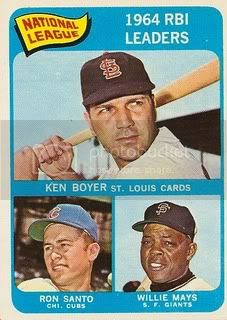 #6 NL RBI Leaders: Ken Boyer, Ron Santo, and Willie Mays