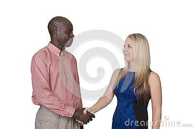 Mixed Race Couple Shaking Hands Stock Photo   Image: 40223598